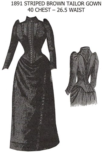 1891 Striped Brown Tailor Gown Pattern