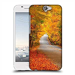 Snoogg Orange Leaves Designer Protective Phone Back Case Cover For HTC one A9
