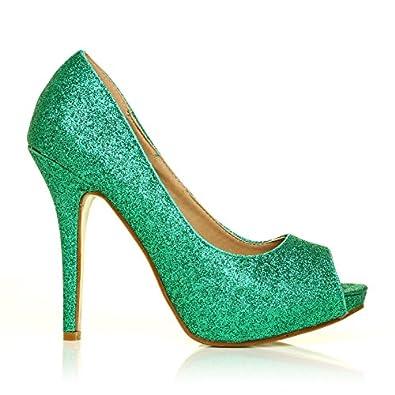green glitter stiletto high heel platform peep toe