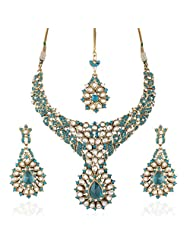 I Jewels Traditional Gold Plated Kundan Necklace Set With Maang Tikka For Women(Rama/ Bluish Green)(K7043Sb)