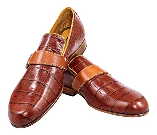 berluti-brown-crocodile-print-leather-loafers-shoes-size-8