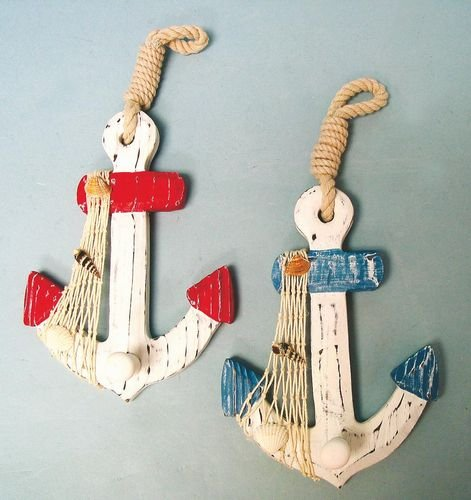 Small Nautical Wall Decor : Set of wood anchor wall hooks nautical decor new