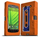 ONX3 Blackberry 9860 Torch Orange Retro Cassette Tape Silicone Case Skin Cover + LCD Screen Protector Guard