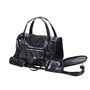 Anima Black Faux Crocodile Travel Bag, 15-Inch