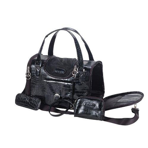 Anima Black Faux Crocodile Travel Bag, 13-Inch by 7-Inch by 9-Inch, Small