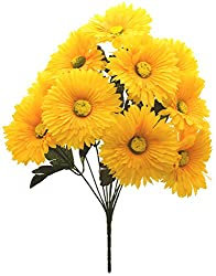 Fourwalls Artificial Spider Gerbera Flower Bunch (42 cm, Yellow, 10 Branches)
