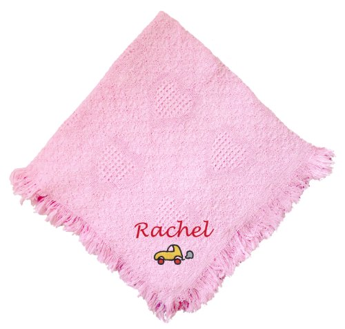 Car Pink 100% Cotton Custom Embroidered Personalized Baby Blanket Green Thread front-969081