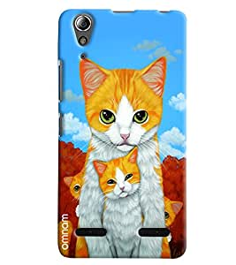 Omnam Two Cats Standing And Posing Printed Designer Back Cover Case For Lenovo A6000