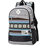 Unisex Tribal Boho Style Flower Print Canvas Backpack School College Laptop Bag for Teens Girls Boys Students (Light Grey)