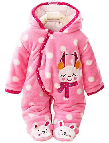Baby Infant Animal Cartoon Footies Romper Winter Jumpsuit Outwear - Pink Rabbit for 0-3M