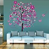 ElecMotive Riesige Herz Baum Schmetterling Abnehmbare Wandaufkleber Wandtattoo Wandsticker Aufkleber