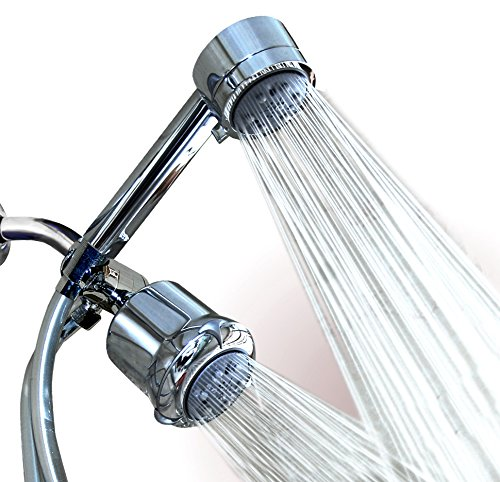 WantBa High Pressure Chrome 5 Setting Massage Spa Shower Head Combo with hose and Handheld shower Dual 3-way-combo (Rainfall Fixed Showerhead and Handheld Shower Combo , Water Diverter , Shower hose) (Low Pressure Shower Head Combo compare prices)