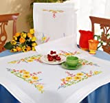Embroidery Runner: Summer Blooms. This runner makes the perfect project and uses stem and cross stitch. Our kit contains everything you need to complete your 40cm x 100 cm (16