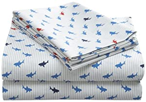 Tommy Hilfiger Sheet Set, Shark Attack Collection, Twin Extra Long