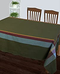 Dhrohar Hand Woven Cotton Table Cover for 6 Seater Table - Green