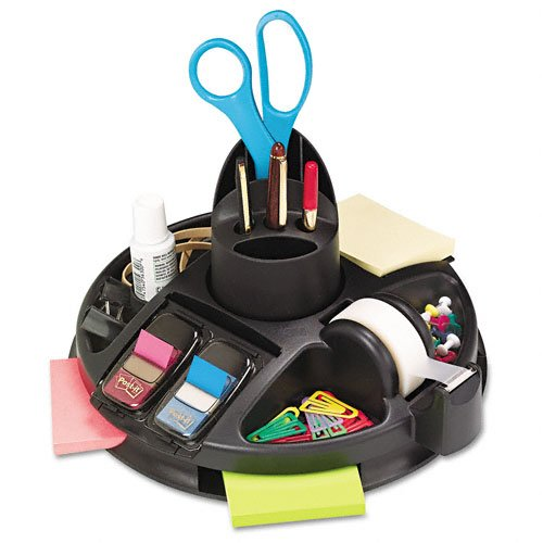 Post-it : Rotary Self-Stick Notes Dispenser, Plastic, Rotary, 9 1/2 dia x 5 1/2h, Black -:- Sold as 2 Packs of - 1 - / - Total of 2 Each manual tape dispenser for gummed tape w 48oz reservoir steel blades black sold as 1 each