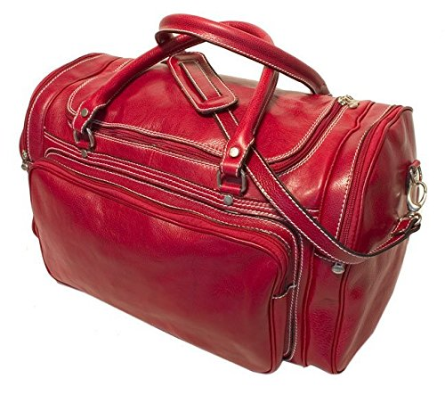 Floto Luggage Italian Torino Duffle Suitcase, Tuscan Red, Large Torino Leather Duffle Bag
