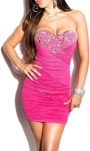 Elegantes KouCla Abendkleid gerafft und mit Steinbesatz in 7 Farben (One Size 34-38) Sexy Dekolletè Minikleid Partykleid (Pink)
