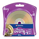 Verbatim 4.7 GB up to 16x LightScribe Gold Recordable Disc DVD+R (10-Disc Blister) 96943