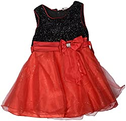 Gowri Marketing Girls' Dress (AM00021_37, Red and Black, 5-6 Years)