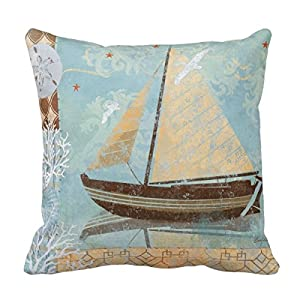 Decorative Pillows For Yachts : Amazon.com - Decors Brown Neutral Sailboat Boat Sail Boat White Throw Pillow Case Cushion Cover ...