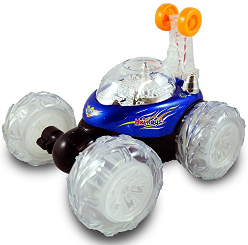 Haktoys HAK101 Invincible Tornado Twister - Multifunctional Rechargeable RC Acrobatic Stunt Car with LED Lights and Music - BLUE (Light Up Remote Control Car compare prices)