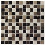 Art3d 6-Pack Backsplash Tile for Kitchen Marble Square Peel and Stick Tile, 12