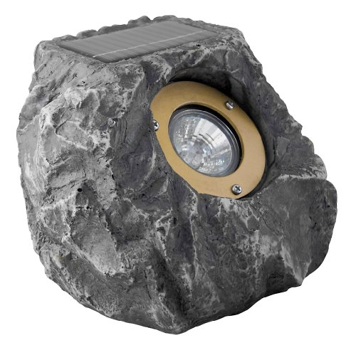 Paradise GL23078 Polyresin Solar Rock Flood Light with Three White LED's, Rock Grey