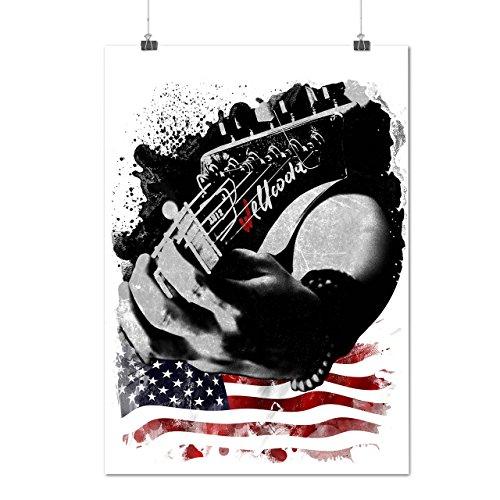 Rock-Star-Gitarre-Musik-Stil-MattesGlnzende-Plakat-A0-A1-A2-A3-A4-Wellcoda