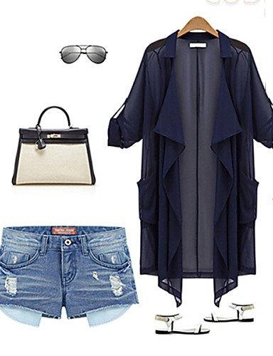 ZXR-weimeijia-femme-Casual-Plus-Taille-lastique--manches-longues-pour-homme-en-mousseline-de-soie