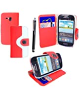 STYLEYOURMOBILE {TM} SAMSUNG GALAXY S3 III MINI i8190 VARIOUS DESIGN CARD POCKET HOLDER PU LEATHER MAGNETIC FLIP CASE COVER POUCH + FREE STYLUS (Red and White Book Flip)