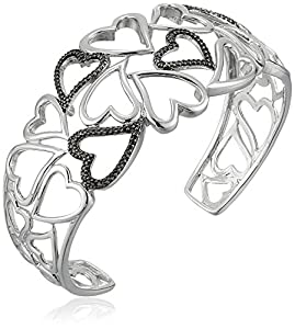 Sterling Silver Black Diamond Accent Hearts Cuff Bracelet