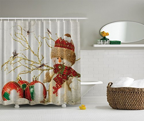 Winter Holiday Snowman Christmas Fabric Shower Curtain Digital Decor By Ambesonne