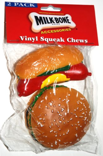 Milk-Bone 2-Pack Vinyl Squeaky Chew Dog Toys – Hamburger and Hot Dog (1 Pack)