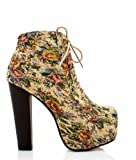 Women Boots Floral Pretty Fashion Booties Thick Wooden Heels Lace Up Ankle