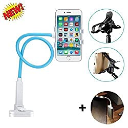 hellosy®Cell Phone Holder,Universal Cell Phone Clip Holder Lazy Bracket Flexible Long Arms for iPhone,Fit On Desktop Bed Mobile Stand for Bedroom, Office, Kitchen(Blue)+a Free Gift