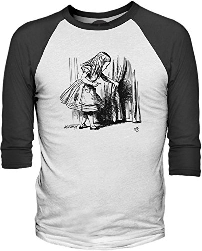 Big Texas Alice in Wonderland - Looking for the Door (Black) 3/4-Sleeve Baseball T-Shirt