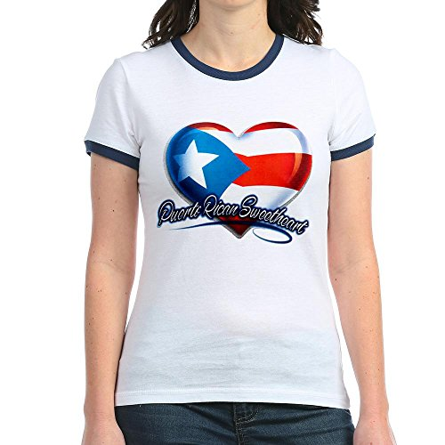 Royal Lion Jr. Ringer T-Shirt Puerto Rican Sweetheart Rico Flag - Navy/White, Small