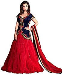 DWM Collection Women's Synthetic Semi-Stitched Lehenga Choli (Maroon)