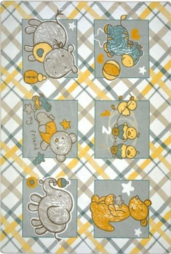 "Joy Carpets Kid Essentials Infants & Toddlers Cozy Creatures Rug, Multicolored, 7'8"" x 10'9"""