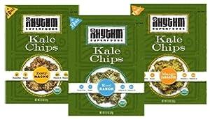 Rhythm Superfoods Kale Chips Variety Pack - Kool Ranch, Mango Habanero, Zesty Nacho