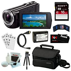 Sony HDR-CX380 16GB Embedded Memory HD Handycam Camcorder with 30x Optical/ 55X Extended Zoom and 3-inch Touch Screen in Black + Sony 16GB SDHC + Wasabi NP-FV50 Battery + Micro HDMI Cable + Sony Carrying Case + Accessory Kit