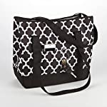 Aruba Beach Tote (Black & White Ikat Tile)
