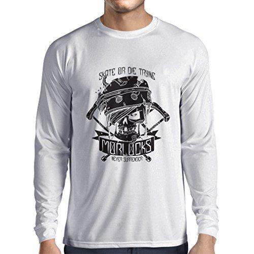 N4605L T-shirt manica lunga da uomo Skate or Die Trying (Small Bianco Multicolore)