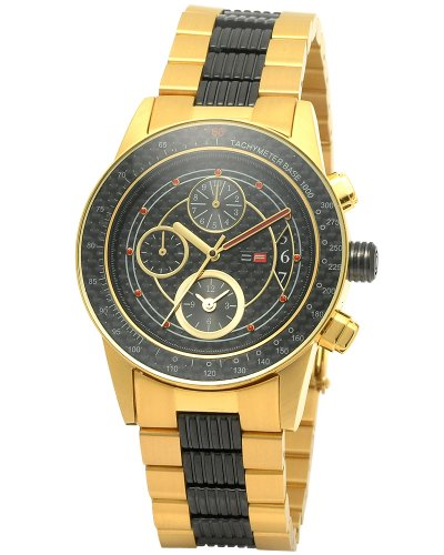 DFactory Men's DFW010JBC Black Label Black Dial Bracelet Chronograph Watch