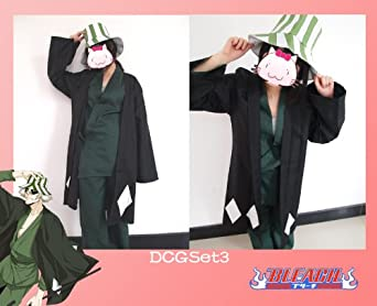 Japanese anime Animation Bleach Urahara Kisuke Cosplay Costume with hat --Size S