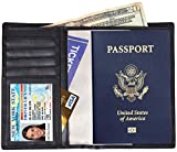 Dante RFID Blocking Leather Travel Wallet Passport Wallet+ Slim Bifold for Men and Women + Protect Your Passport ID Credit Card + Bifold Wallets with Latest RFID Block Technology with 9 Slots (Black)