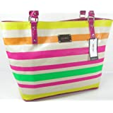 New Nine West Purse Large Hand Shoulder Bag Stripe Summer Tote Multicolor Pink