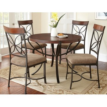 Steve Silver Sanderson 5 Piece Dining Room Set in Warm Brown Cherry