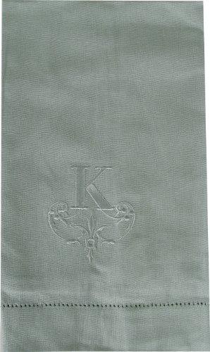 Pale Blue Monogrammed Fingertip Towel, K front-831978